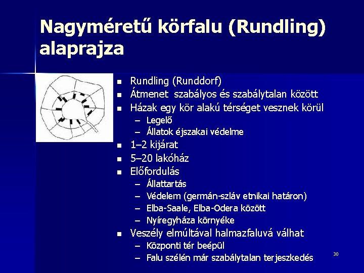 Nagyméretű körfalu (Rundling) alaprajza n n n Rundling (Runddorf) Átmenet szabályos és szabálytalan között
