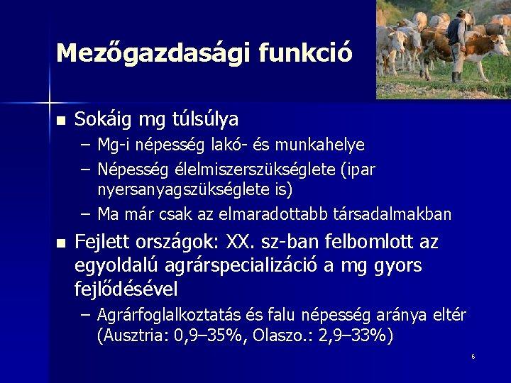 Mezőgazdasági funkció n Sokáig mg túlsúlya – Mg-i népesség lakó- és munkahelye – Népesség