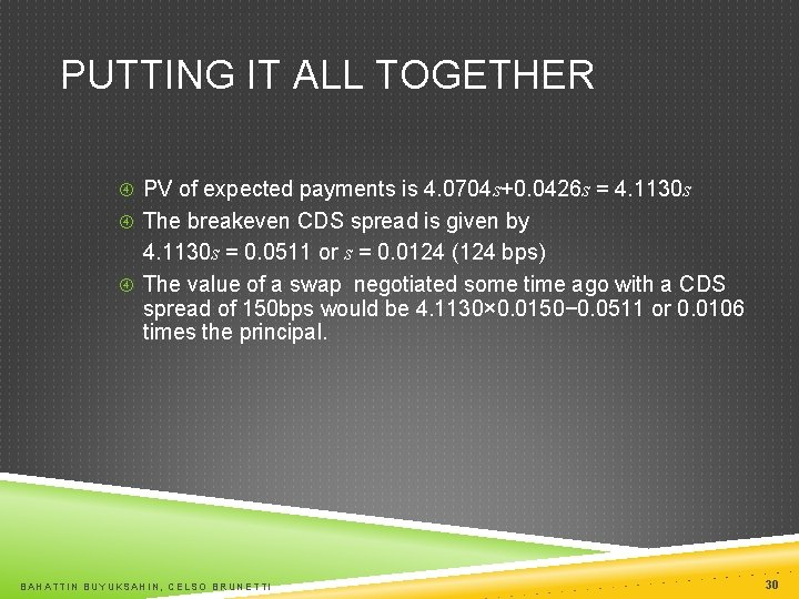 PUTTING IT ALL TOGETHER PV of expected payments is 4. 0704 s+0. 0426 s