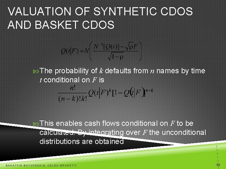 VALUATION OF SYNTHETIC CDOS AND BASKET CDOS The probability of k defaults from n