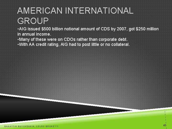 AMERICAN INTERNATIONAL GROUP • AIG issued $500 billion notional amount of CDS by 2007,