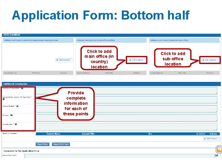 Application Form: Bottom half Click to add main office (in country) location Click to