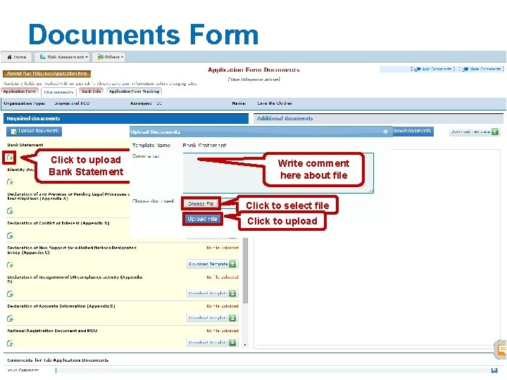 Documents Form Click to upload Bank Statement Write comment here about file Click to
