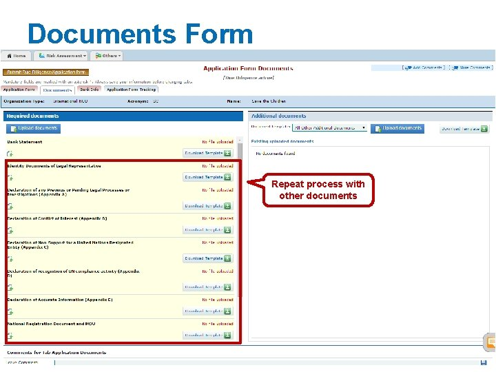 Documents Form Repeat process with other documents cbpf. unocha. org 21