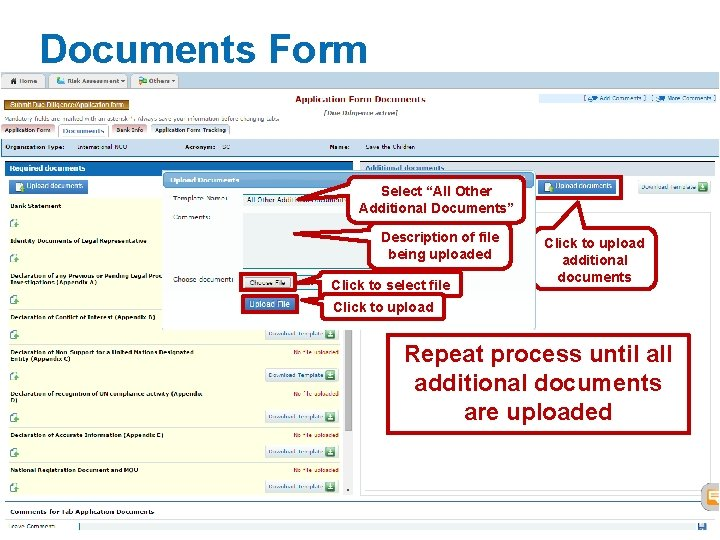 """Documents Form Select """"All Other Additional Documents"""" Description of file being uploaded Click to"""