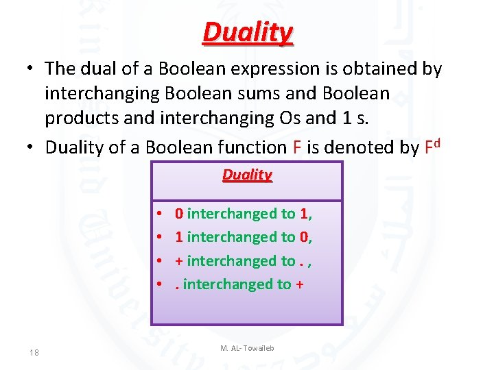 Duality • The dual of a Boolean expression is obtained by interchanging Boolean sums