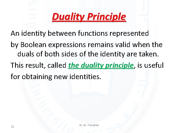 Duality Principle An identity between functions represented by Boolean expressions remains valid when the