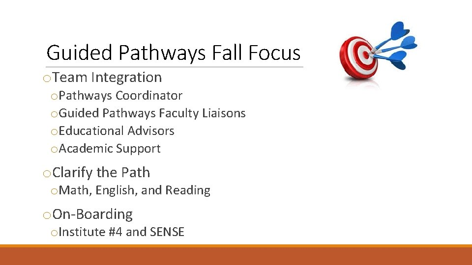 Guided Pathways Fall Focus o. Team Integration o. Pathways Coordinator o. Guided Pathways Faculty