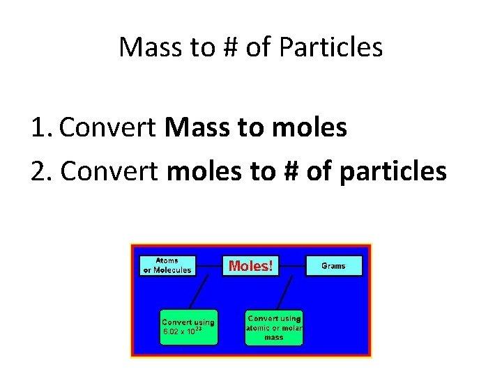 Mass to # of Particles 1. Convert Mass to moles 2. Convert moles to