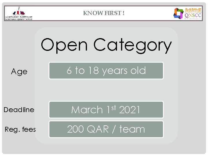 KNOW FIRST ! Open Category Age 6 to 18 years old Deadline March 1