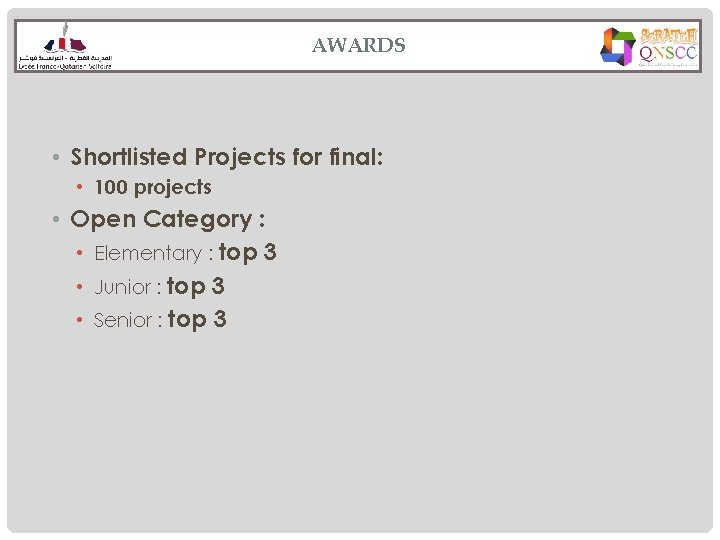 AWARDS • Shortlisted Projects for final: • 100 projects • Open Category : •