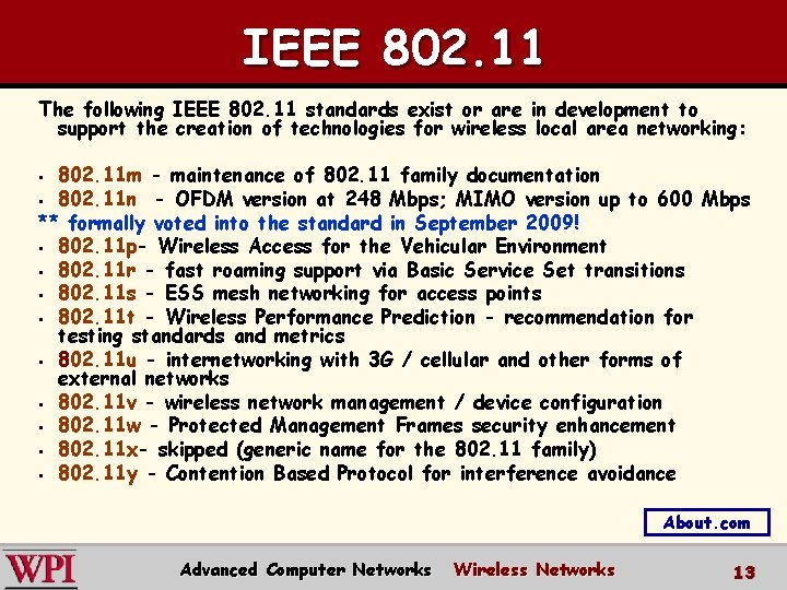IEEE 802. 11 The following IEEE 802. 11 standards exist or are in development