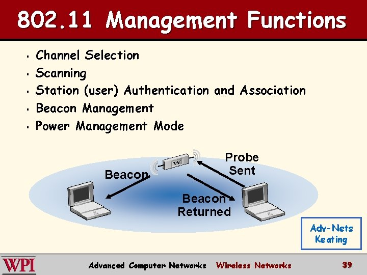802. 11 Management Functions § § § Channel Selection Scanning Station (user) Authentication and