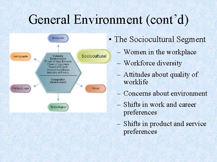 General Environment (cont'd) • The Sociocultural Segment – Women in the workplace – Workforce