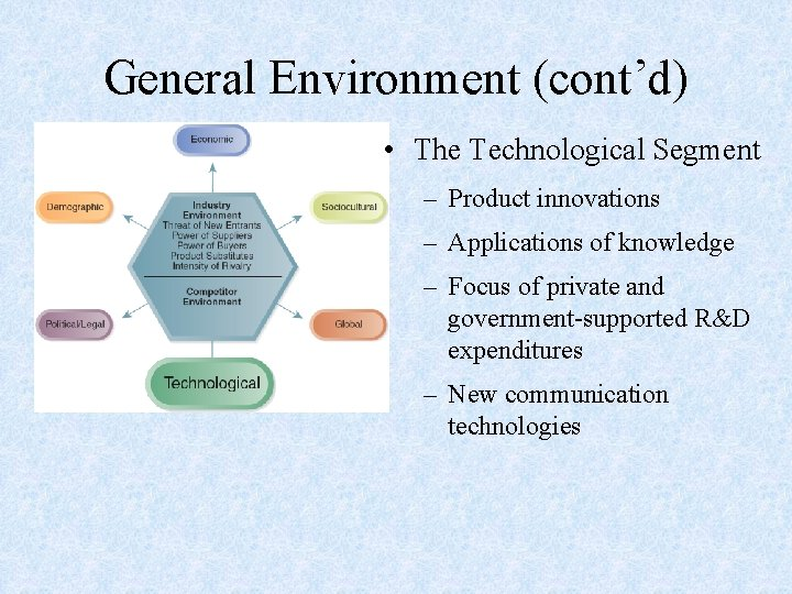 General Environment (cont'd) • The Technological Segment – Product innovations – Applications of knowledge