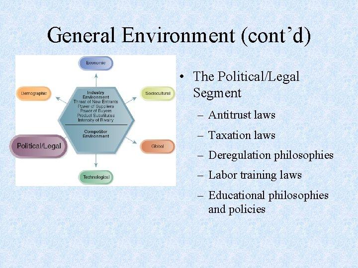 General Environment (cont'd) • The Political/Legal Segment – Antitrust laws – Taxation laws –