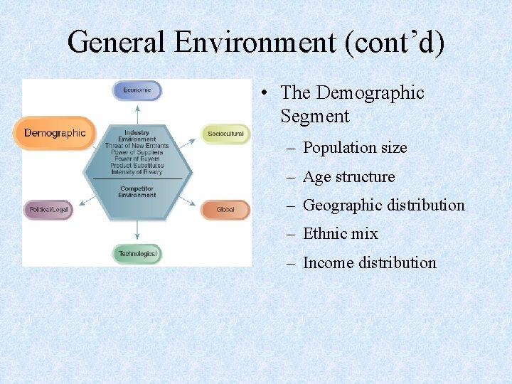 General Environment (cont'd) • The Demographic Segment – Population size – Age structure –