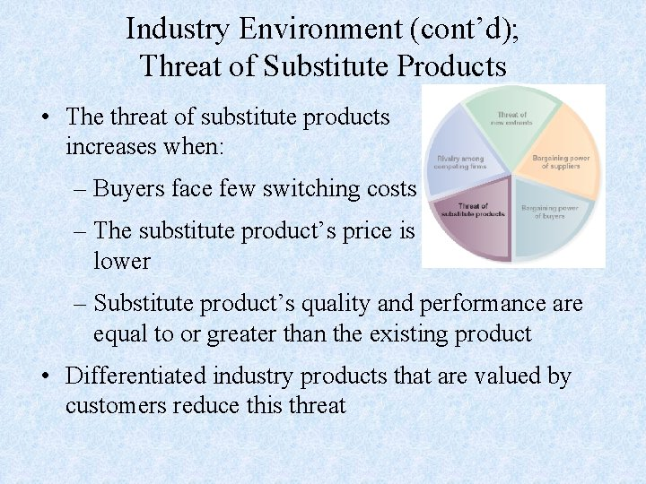 Industry Environment (cont'd); Threat of Substitute Products • The threat of substitute products increases