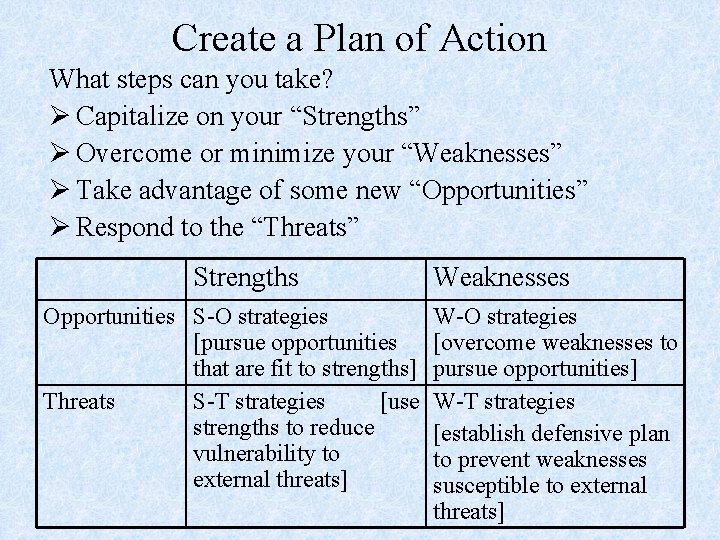 Create a Plan of Action What steps can you take? Ø Capitalize on your
