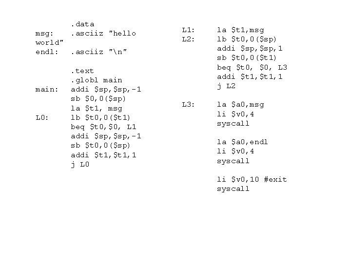 ". data. asciiz ""hello msg: world"" endl: . asciiz ""n"" main: L 0: ."