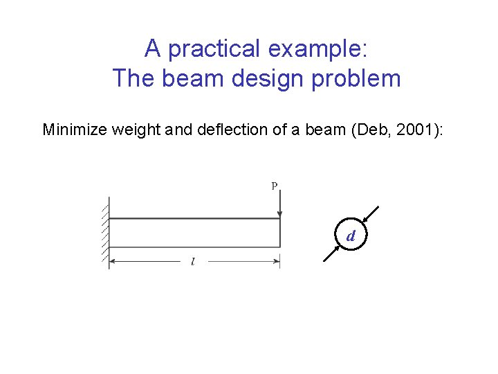 A practical example: The beam design problem Minimize weight and deflection of a beam