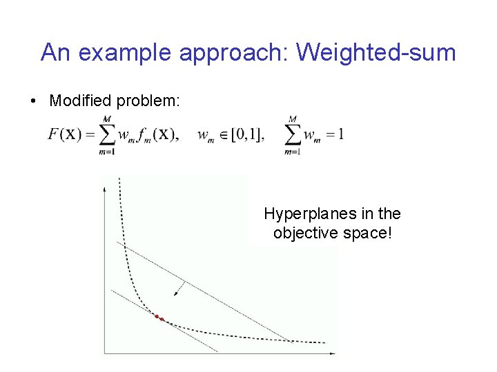 An example approach: Weighted-sum • Modified problem: Hyperplanes in the objective space!