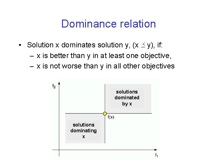 Dominance relation • Solution x dominates solution y, (x y), if: – x is