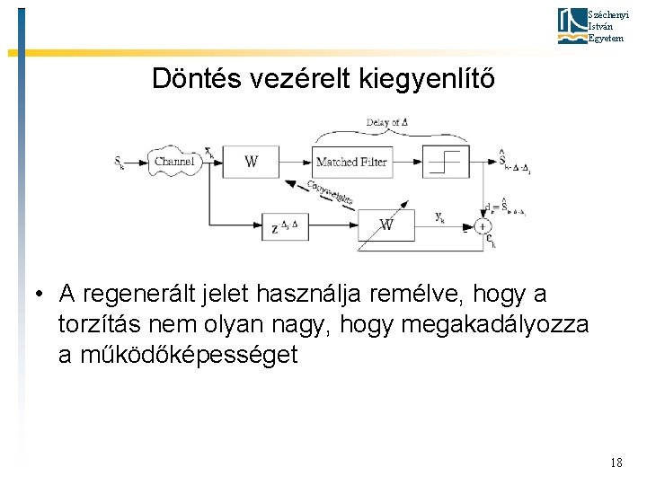 Széchenyi István Egyetem Döntés vezérelt kiegyenlítő • A regenerált jelet használja remélve, hogy a