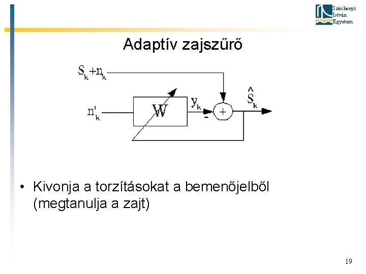 Széchenyi István Egyetem Adaptív zajszűrő • Kivonja a torzításokat a bemenőjelből (megtanulja a zajt)