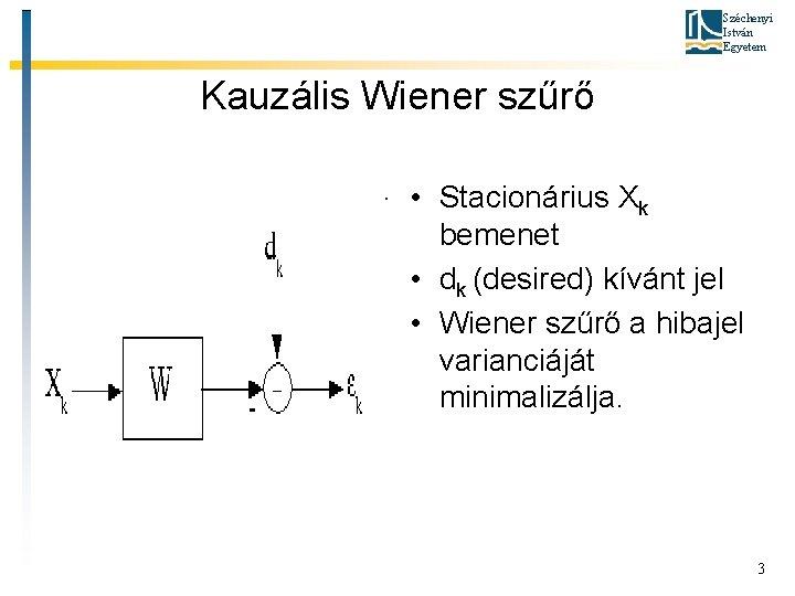 Széchenyi István Egyetem Kauzális Wiener szűrő • Stacionárius Xk bemenet • dk (desired) kívánt