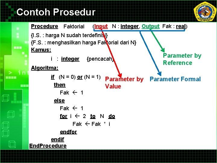 Contoh Prosedur Procedure Faktorial (Input N : integer, Output Fak : real) {I. S.