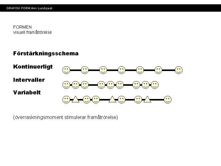 GRAFISK FORM Ann Lundqvist FORMEN visuell framåtrörelse Förstärkningsschema Kontinuerligt Intervaller Variabelt (överraskningsmoment stimulerar framåtrörelse)