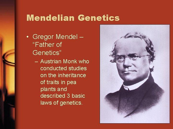 """Mendelian Genetics • Gregor Mendel – """"Father of Genetics"""" – Austrian Monk who conducted"""