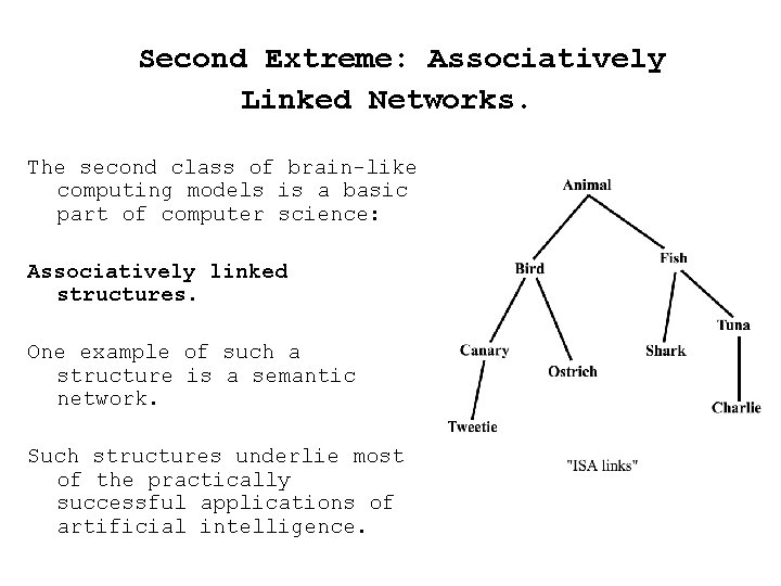 Second Extreme: Associatively Linked Networks. The second class of brain-like computing models is