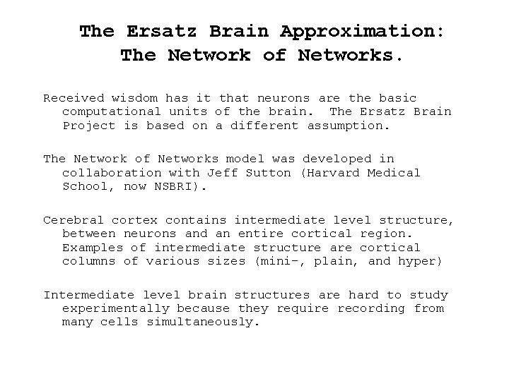 The Ersatz Brain Approximation: The Network of Networks. Received wisdom has it that neurons