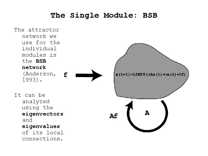 The Single Module: BSB The attractor network we use for the individual modules is