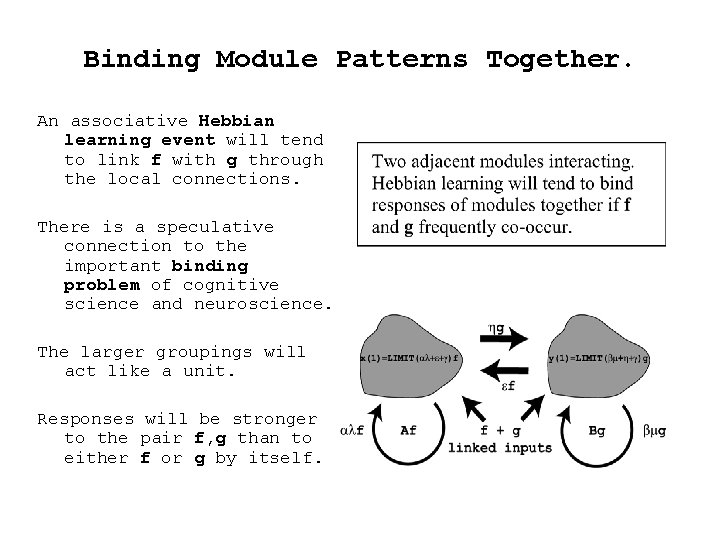 Binding Module Patterns Together. An associative Hebbian learning event will tend to link f