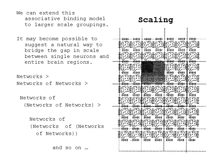 We can extend this associative binding model to larger scale groupings. It may become