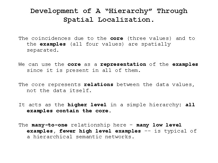 """Development of A """"Hierarchy"""" Through Spatial Localization. The coincidences due to the core (three"""