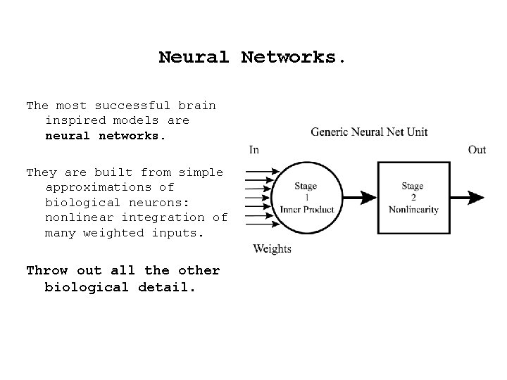 Neural Networks. The most successful brain inspired models are neural networks. They are