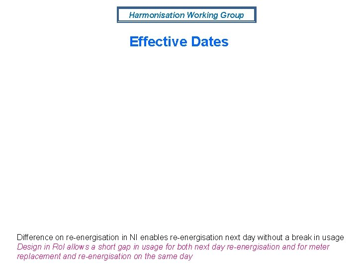 Harmonisation Working Group Effective Dates Difference on re-energisation in NI enables re-energisation next day