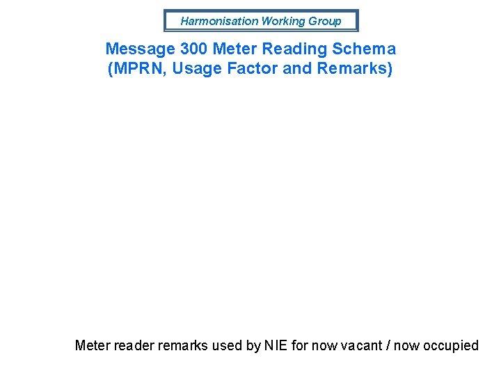 Harmonisation Working Group Message 300 Meter Reading Schema (MPRN, Usage Factor and Remarks) Meter