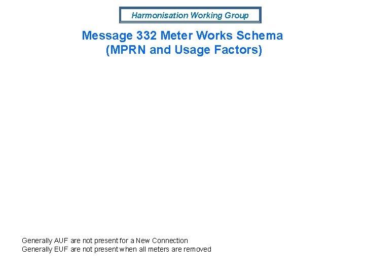 Harmonisation Working Group Message 332 Meter Works Schema (MPRN and Usage Factors) Generally AUF