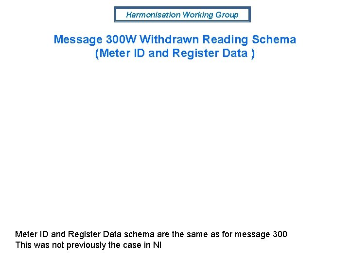 Harmonisation Working Group Message 300 W Withdrawn Reading Schema (Meter ID and Register Data