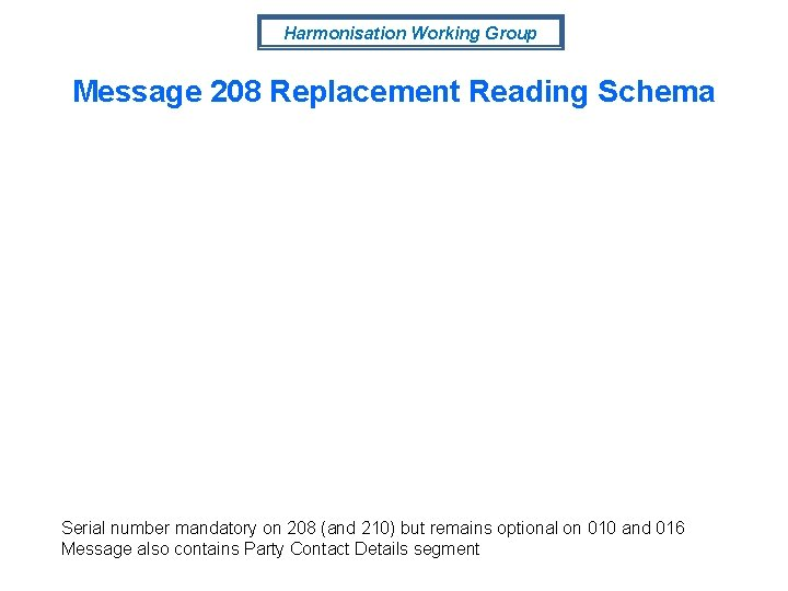 Harmonisation Working Group Message 208 Replacement Reading Schema Serial number mandatory on 208 (and