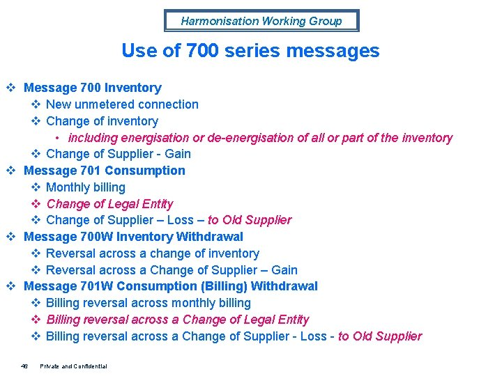 Harmonisation Working Group Use of 700 series messages v Message 700 Inventory v New