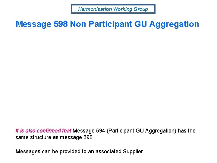 Harmonisation Working Group Message 598 Non Participant GU Aggregation It is also confirmed that