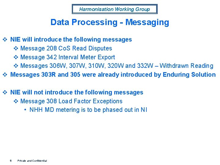 Harmonisation Working Group Data Processing - Messaging v NIE will introduce the following messages