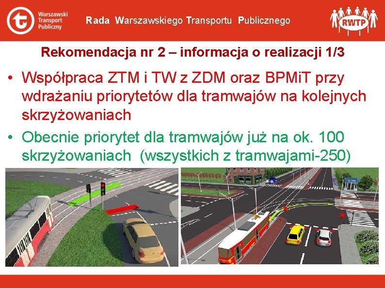 Rada Warszawskiego Transportu Publicznego Rekomendacja nr 2 – informacja o realizacji 1/3 • Współpraca