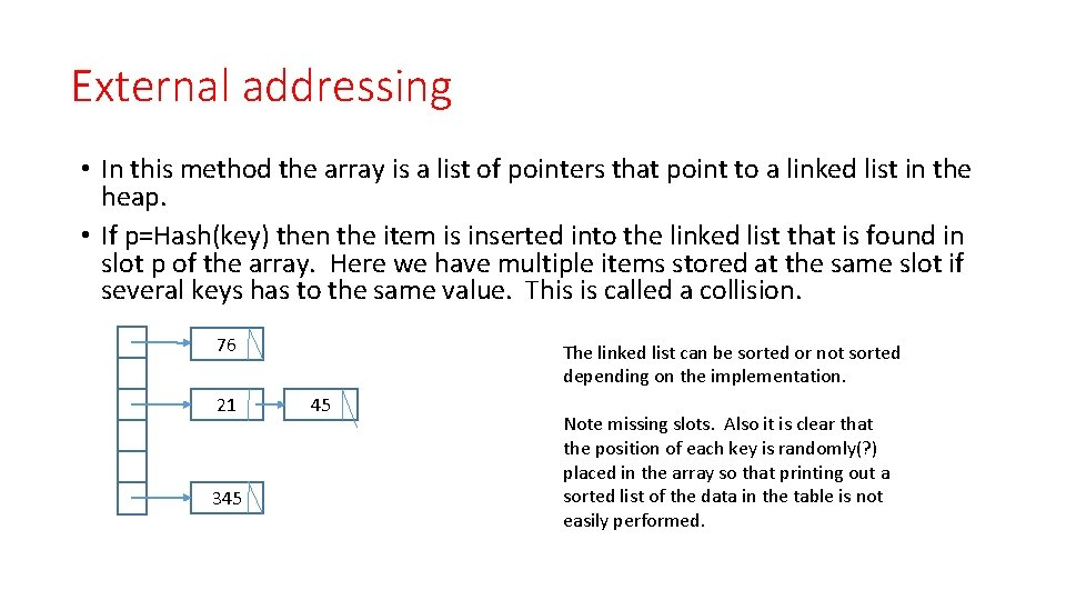 External addressing • In this method the array is a list of pointers that